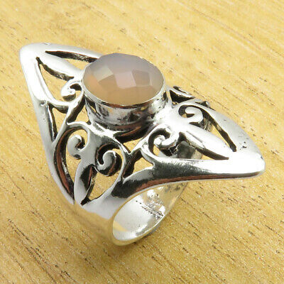 GRANDCHILD'S JEWELRY 925 Silver Plated Rose Quartz OLD STYLE Ring Size 7.5 NEW