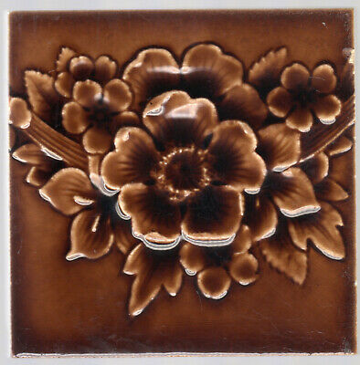 Providential Tile Co. - c1885 - Brown Floral Bunting - Antique Majolica Tile