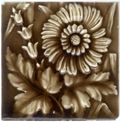 Providential Tile Co. - c1885 - Brown Floral - Antique American Majolica Tile