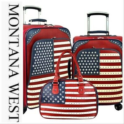 Montana West American Pride USA 🇺🇸 Collection 3 PC Luggage Set-Red