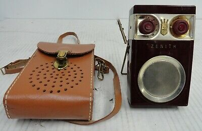 Zenith Royal 500 AM Transistor Radio, Leather Case Fully Functional (2A2.31.JK)