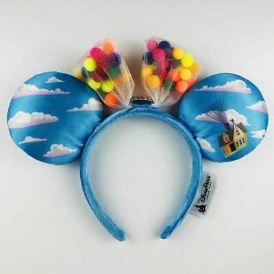 Disney Parks UP Grape Soda Cap Balloons Minnie Mouse Ears Bow Hat Headband