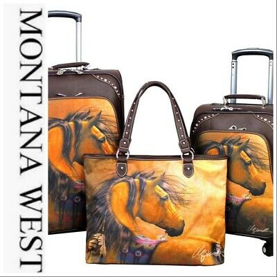 Montana West Horse Collection 3 PC Luggage Set-Coffee - Laurie Prindle