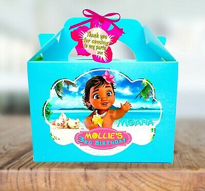 Personalised Baby Moana Birthday Party Bag Favour, Treat Gift Box x1