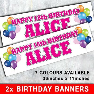 PERSONALISED BIRTHDAY BANNER x2 1st 5th 16th 18th 21st 30th 40th 50th BALLOONS