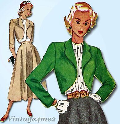 1940s Vintage Simplicity Sewing Pattern 2372 Misses Suit and Tucked Blouse 32B