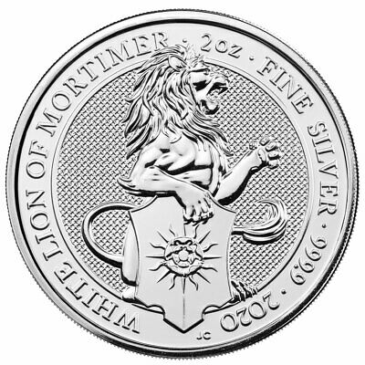 2020 Britain 2 oz Silver Queen's Beasts White Lion Mortimer BU SKU59358