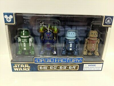 Disney Parks Star Wars Droid Factory 4 Pack R5-013, R2-C2, R5-S9, R5-P8 New