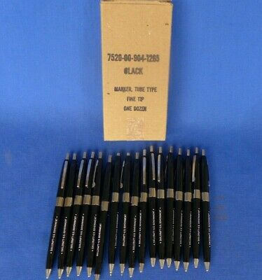 17 Skilcraft US Government Issue Black Ballpoint Pens w/ Original Box Vintage