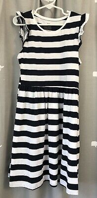 Girls H&M Navy Blue And White Dress Size 7-8 New Without Tags