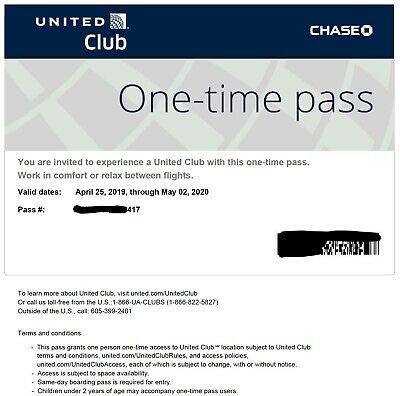 United Airlines Club One-time Pass, Email Delivery Only, Expires 5/2/2020, Qty 1