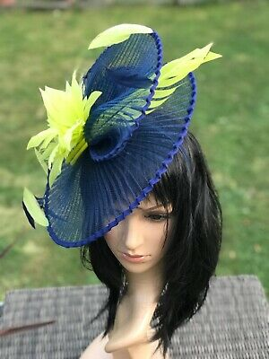 Suzanne Bettley Navy Lime Green Wedding  Hat Disc Fascinator Occasion Formal
