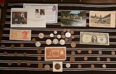 Junk Drawer Lot: Old U.S. Coins 1906+, Scrap Silver, Currency, Postcards+