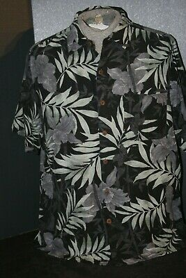 Caribbean Joe Men's (L) 100% Silk Black & White Fern Print S/S Island Camp Shirt