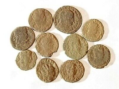 10 ANCIENT ROMAN COINS AE3 - Uncleaned and As Found! - Unique Lot 21741