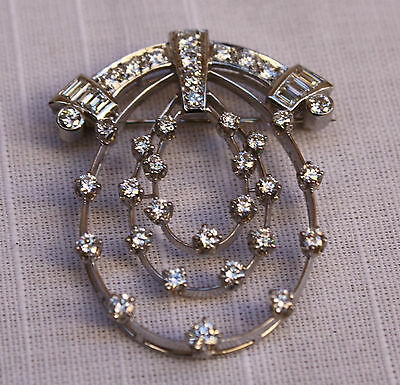 Magnificent French Art Deco Platinum Diamond Brooch Must See