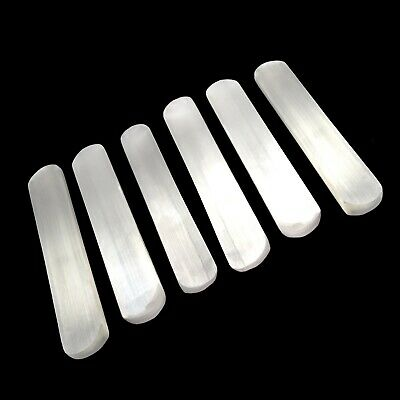 Polished SELENITE Crystal Wand LOT of 5 Flat Smooth Healing Logs Rounded End Bar