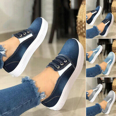 2019 Womens Ladies Canvas Loafers Pumps Casual Slip On Flat Sneakers Shoes Size