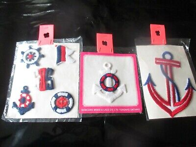 SET Of 3 Vintage NAUTICAL SAILING THEMES Packages of EMBROIDERED PATCHES -1970's