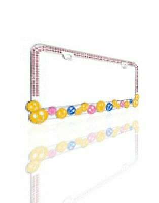 """VALOR Charming Multi-Colored """"HAPPY FACE"""" with Pink Crystals Design Metal Frame"""