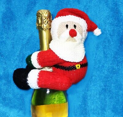 KNITTING PATTERN - Father Christmas / Santa Wine Bottle Hugger Cover toy