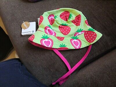 New Maxomorra Strawberry Sun Hat with Cord Tie 40/42 0-3 Months. Free p&p!