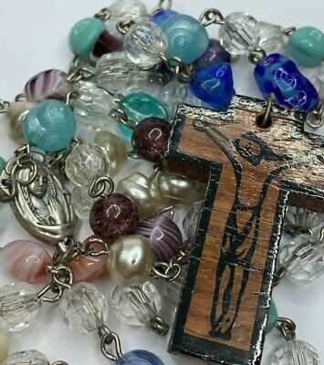"""† Unique Vintage Handmade Wood Crucifix & Varity Beaded Rosary Necklace 31"""" †"""