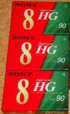 SONY VIDEO 8 - HG90 PAL - NEW/SEALED/BLANK lot of 3 camcorder cassette tapes
