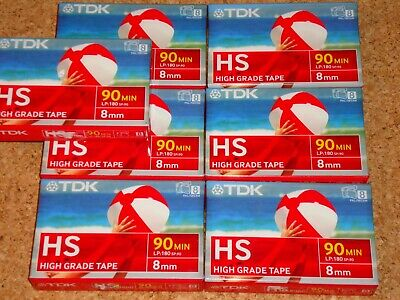 TDK 8MM HS 90 (P5-90HSEQ) - NEW/SEALED/BLANK lot of 7 camcorder cassette tapes