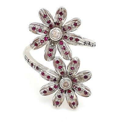 925 Solid Silver Sterling Handmade Red Zircon Flower Ring Casual Daily Wear