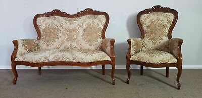 Sofa with armchair in Louis Philippe style, 1970 Antique Vintage