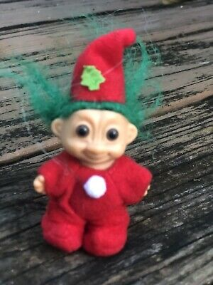 "Vtg Troll Doll Russ Christmas Santa Tree Ornament 3"" Red Outfit Green Hair 90s"