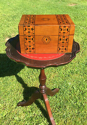 Antique Victorian Walnut Inlaid Tunbridgeware Box c1880