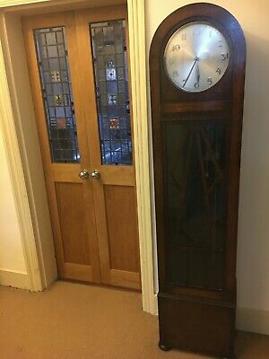Art Deco Wooden 1930s Longcase Grandfather Clock, for Restoration