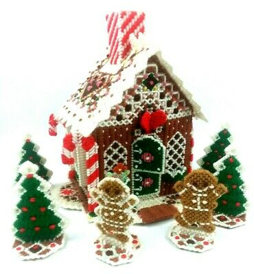 Complete Needlepoint Christmas Gingerbread Cottage Tissue Holder Finished