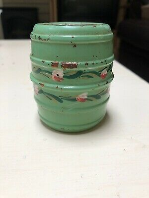 Vintage Mint Green Metal Barrel Coin Bank-Free shipping