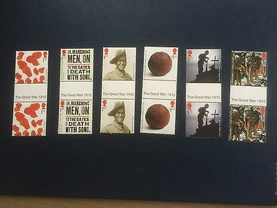 """GB 2015 The Great War """"The Great War 1915"""" gutter pairs, mint, unfolded MNH"""