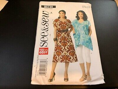 Butterick Pattern B5739 Ms SEE /& SEW Pullover Loose Fit Dress~Top /& Pants XS-XXL