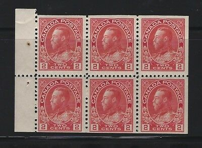CANADA - #106a - 2c KING GEORGE V ADMIRAL MINT BOOKLET PANE (1911) MNH