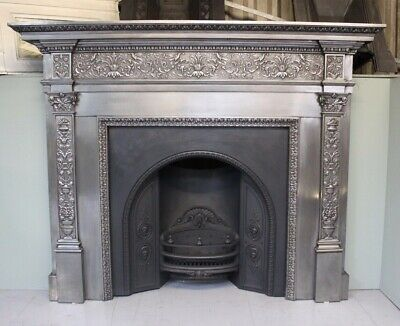 Rare Antique Victorian Coalbrookdale burnished cast iron fire surround fireplace