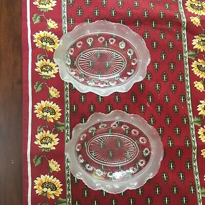 Pair Of Antique Pressed Glass Oval Trinket Candy Dishes Vintage Clear Frosted