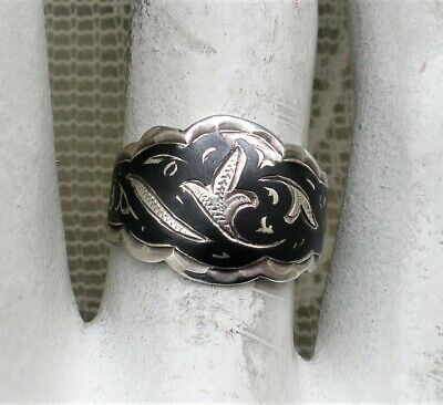NEW OLD STOCK Vintage Russian Russia USSR Silver 875 Kubachi Niello Band Ring