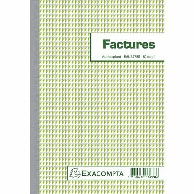 EXACOMPTA Manifold Factures Mention TVA 21X14,8 cm - 50 Feuillets