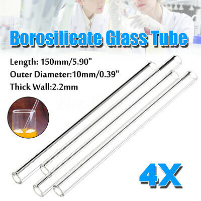 4Pcs 150mmX10mmX2.2mm Thick Wall Borosilicate Glass Lab Blowing Tube Tubing