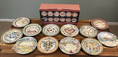 "222 Fifth Twelve Days of Christmas Dessert Salad Plates COMPLETE SET 8"" 97122"