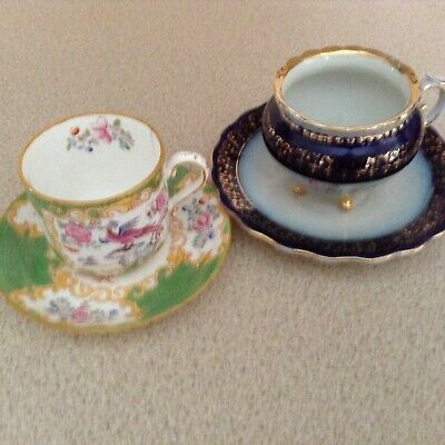 Antique Minton Green Cockatrice Coffee Can & Saucer plus one other demitasse