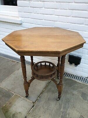 Edwardian Small Hexagonal Occasional / Side / Dining Table - Shelf Wood Antique