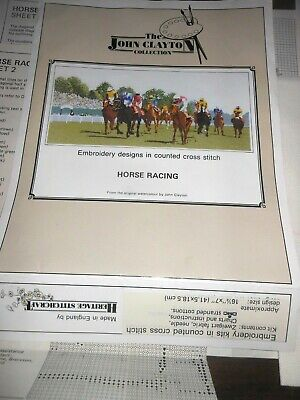 Horse Racing Cross Stitch Kit Complete Fabric Heritage Stitchcraft New Chart