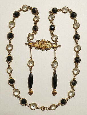 Vintage Art Deco Style Glass Bead Egyptian Revival Pendant Necklace