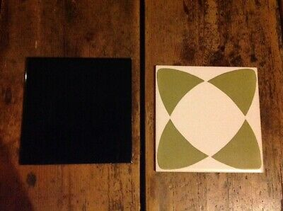 "2 Vintage Tiles 6"" Square 1 X Black 1 X Green/ White Pattern H & R Johnson"